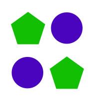 Ada dua kemungkinan menempatkan dua objek.