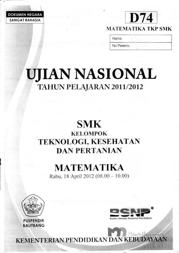 Soal Ujian Nasional SMK 2011/2012 SMK Matematika TKP - Halaman 1
