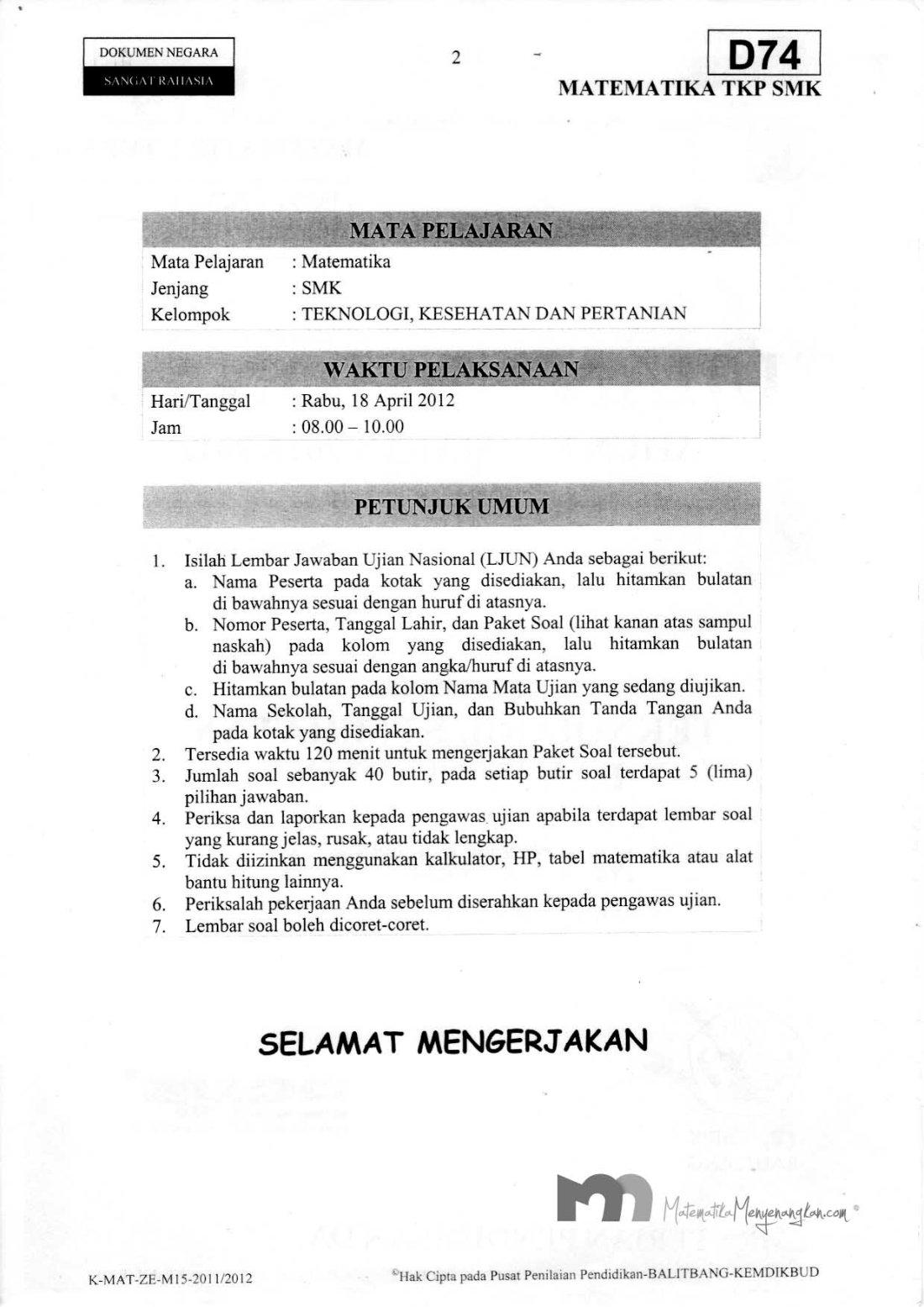 Soal Ujian Nasional SMK 2011/2012 SMK Matematika TKP - Halaman 2