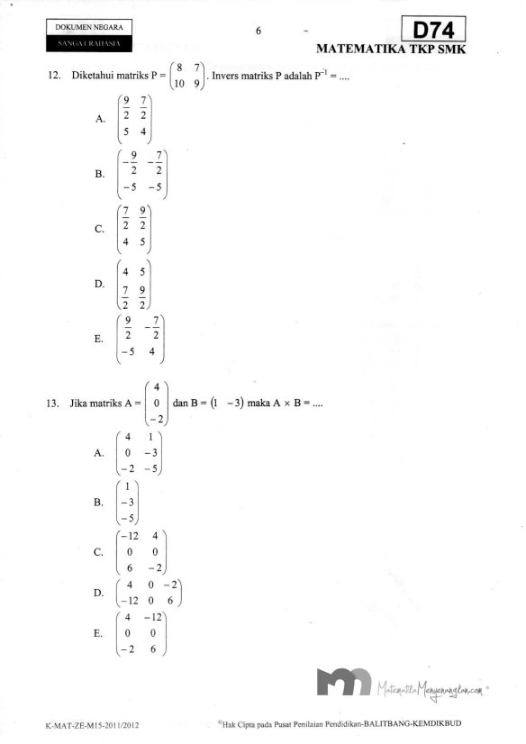 Soal Ujian Nasional SMK 2011/2012 SMK Matematika TKP - Halaman 6