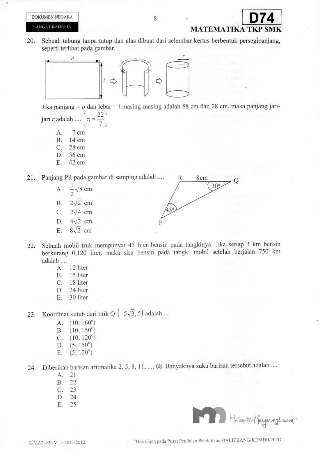 Soal Ujian Nasional SMK 2011/2012 SMK Matematika TKP - Halaman 8