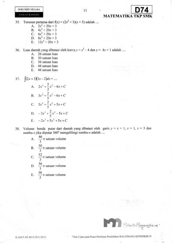 Soal Ujian Nasional SMK 2011/2012 SMK Matematika TKP - Halaman 11