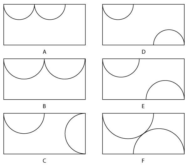 Kemungkinan posisi setengah lingkaran dalam kertas.
