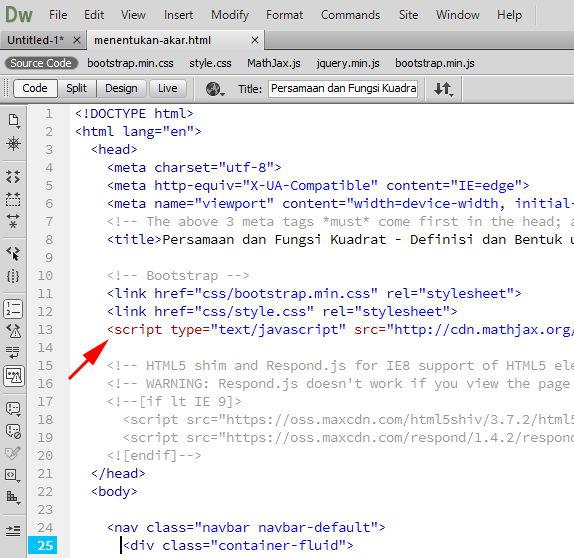 Masukkan script javascript MathJax ke head html.