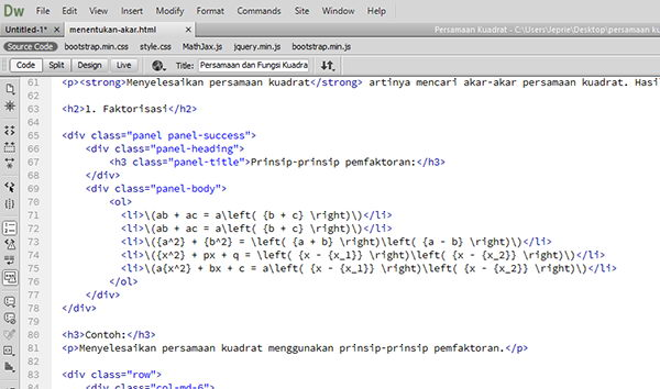 Kode latex MathJax di Dreamweaver.