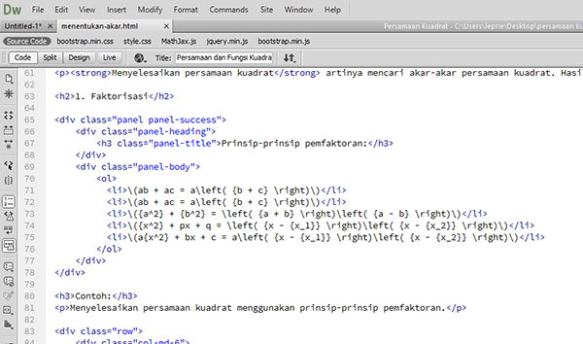 Kode latex MathJax di Dreamweaver.