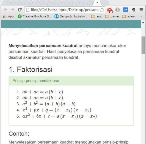 Tampilan halaman html dengan latex.