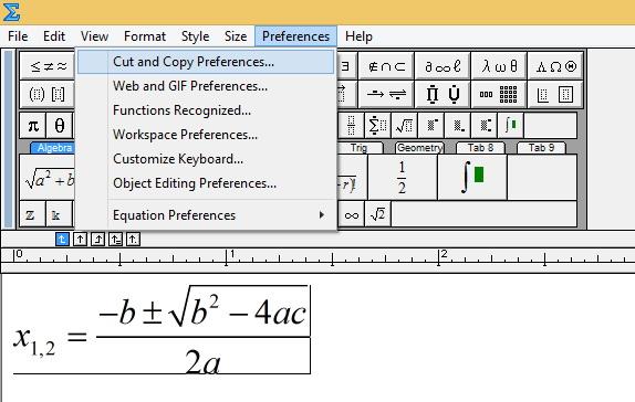 Atur Preferences Cut dan Copy di MathType.