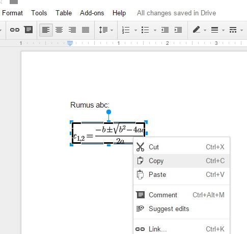 Setelah klik kedua, copy persamaan.