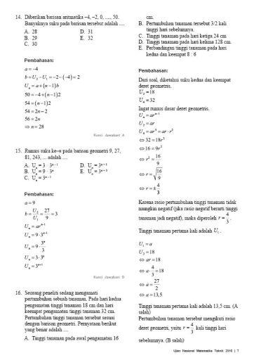 Soal Pembahasan Ujian Nasional Matematika Teknik 2016-07