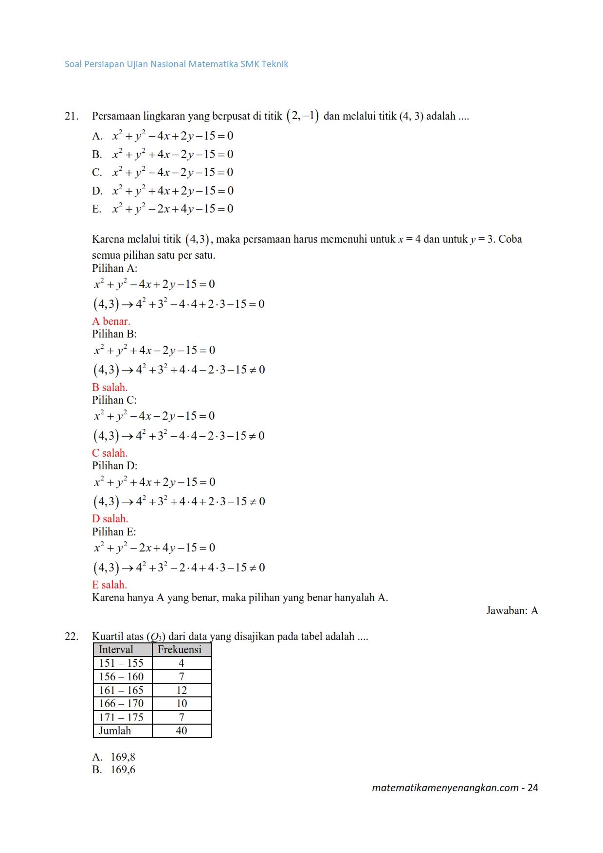 soal dan pembahasan persiapan ujian nasional 2017 matematika smk teknik 024